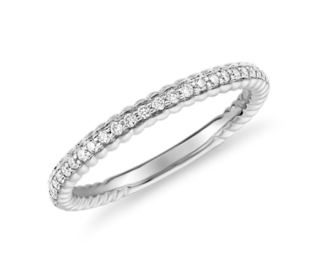 Petite Roped Diamond Band in 14k White Gold (1/6 ct. tw.)