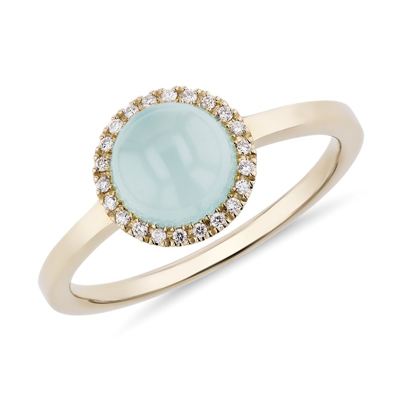 Petite Round Green Chalcedony Cabochon Ring with Diamond Halo in