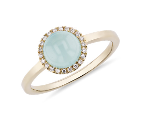 Petite Round Green Chalcedony Cabochon Ring with Diamond Halo in 14k Yellow Gold (7mm)