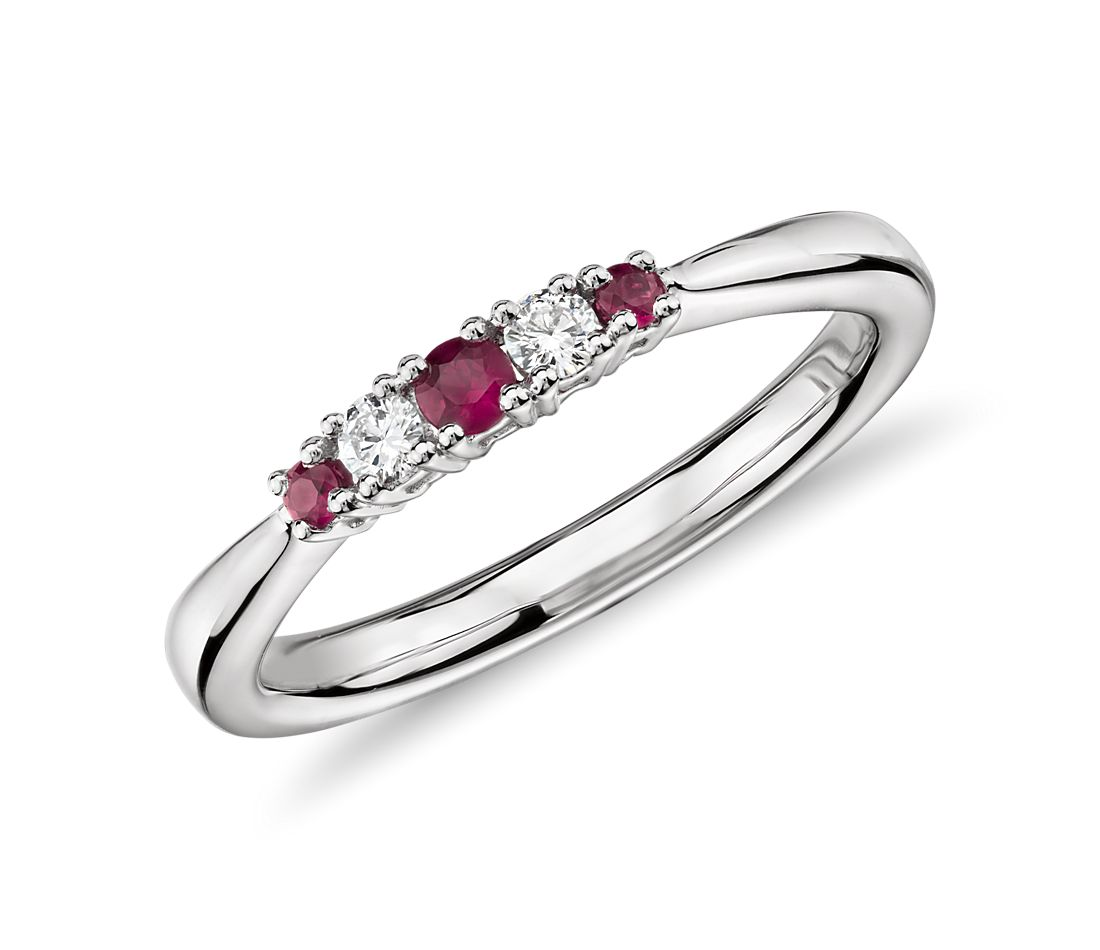 Petite Ruby and Diamond Stacking Ring in 14k White Gold