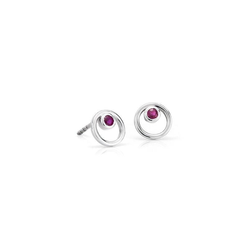 Petite Open Circle Ruby Birthstone Earrings in 14k White Gold (2m