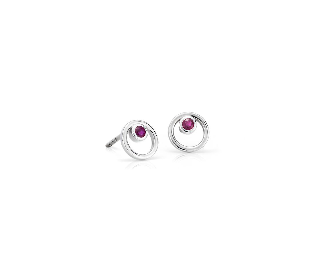 Pee Open Circle Ruby Birthstone Earrings In 14k White Gold 2mm