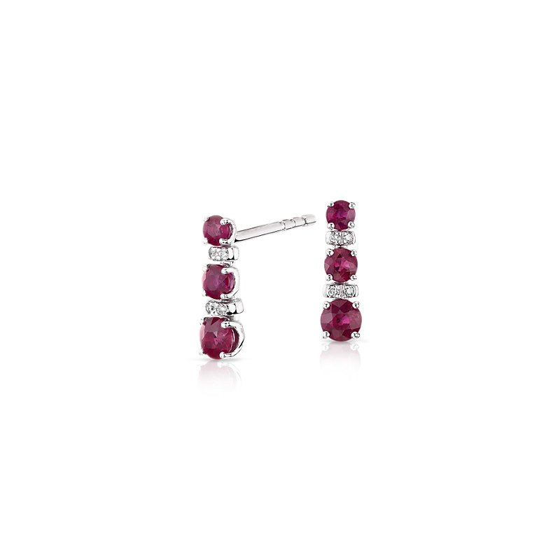 Petite Ruby and Diamond Tower Earrings in 14k White Gold