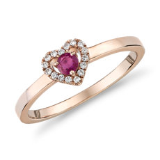 Petite Ruby and Diamond Pavé Heart Ring in 14k Rose Gold (3mm)
