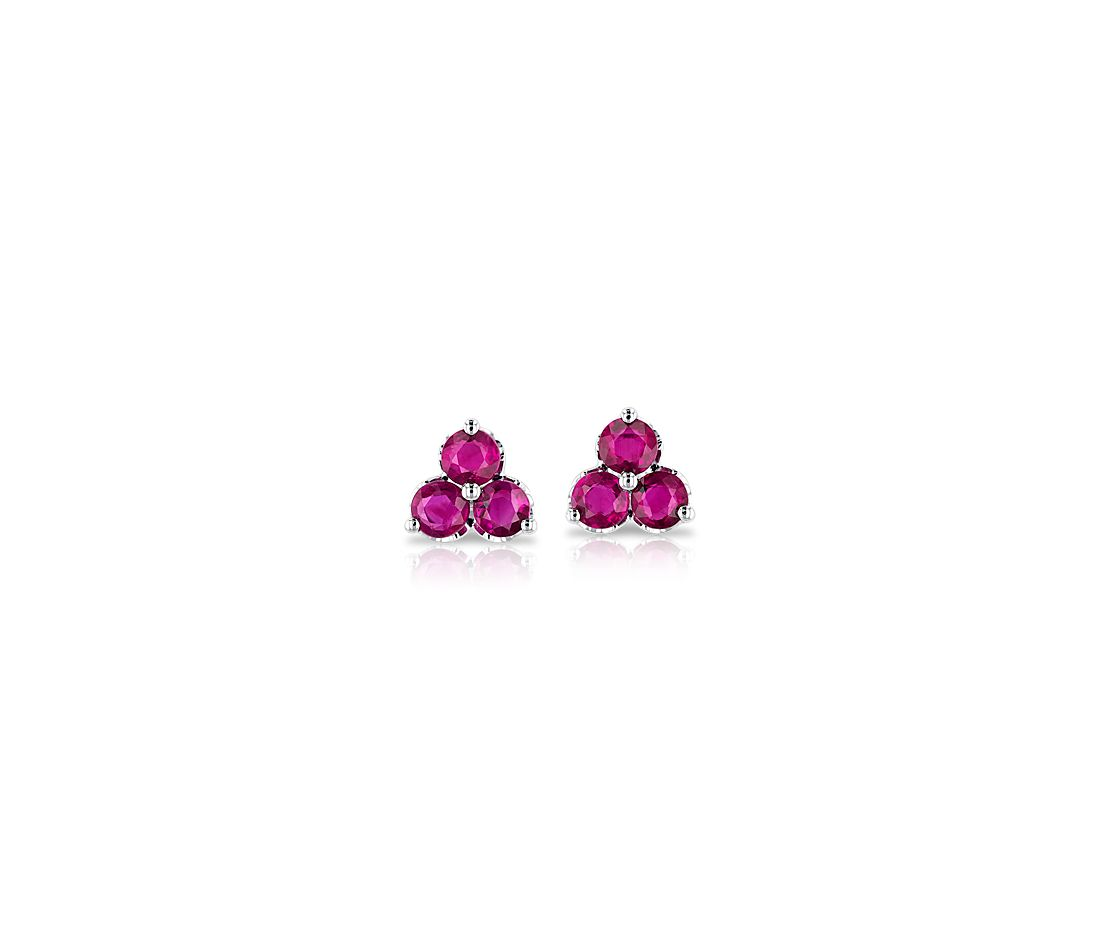 Petite Ruby Trio Cluster Earrings in 14k White Gold (2.6mm)