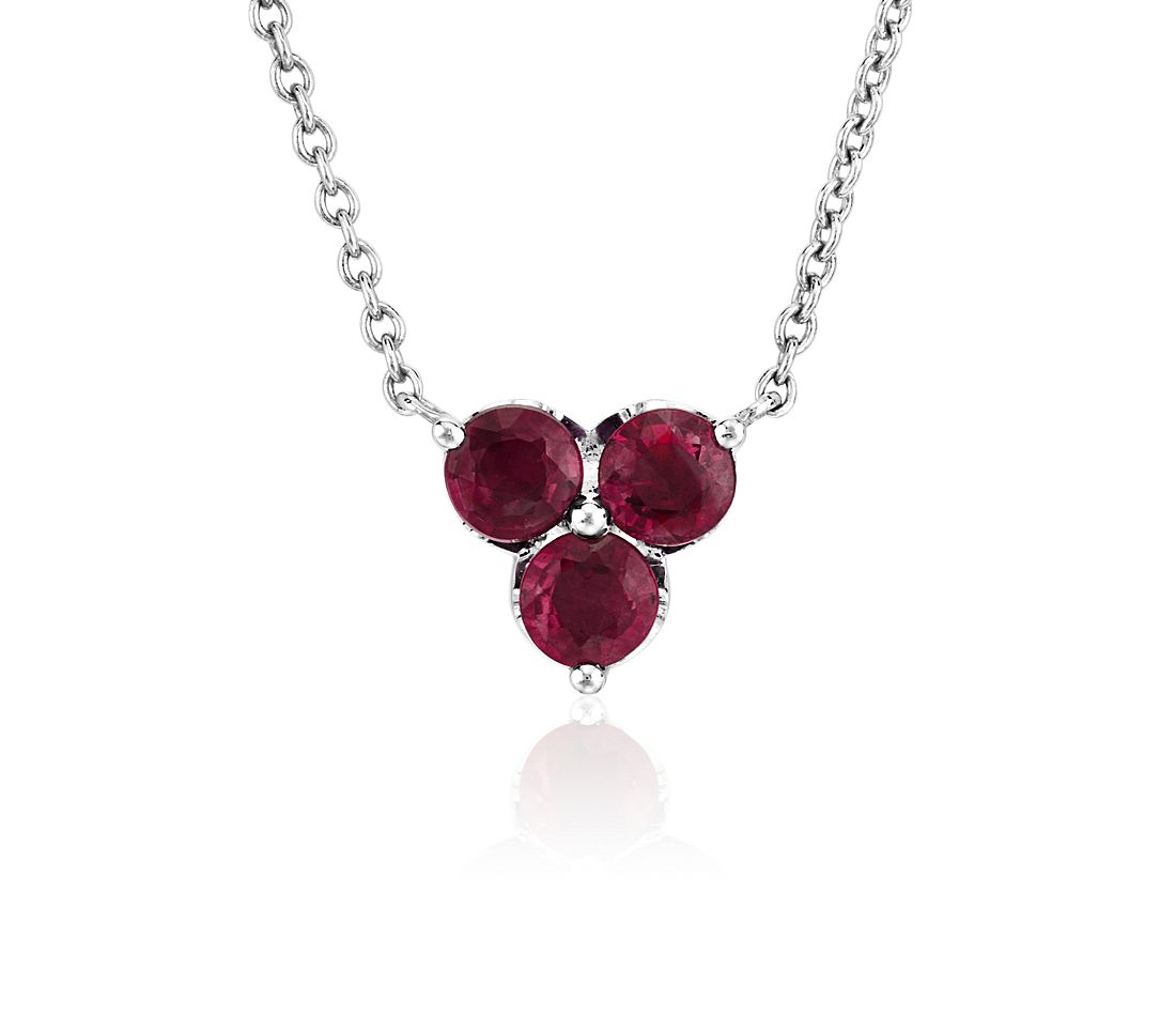 Petite Ruby Trio Cluster Pendant in 14k White Gold (2.8mm)