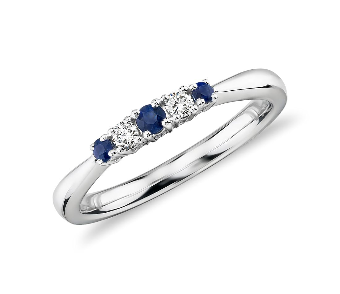 Petite Sapphire and Diamond Ring in 14k White Gold