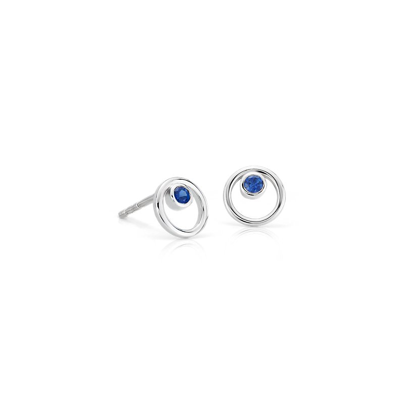 Petite Open Circle Sapphire Birthstone Earrings in 14k White Gold