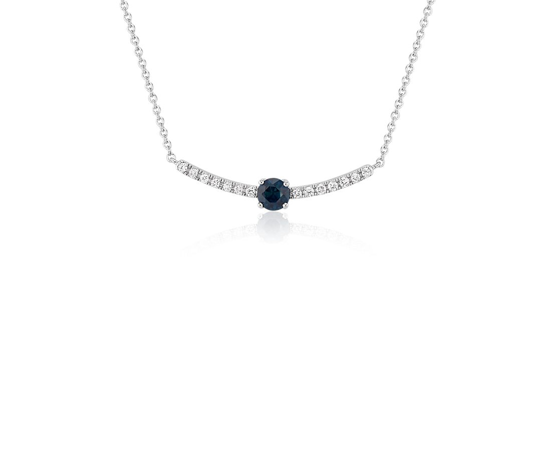 Petite Sapphire and Diamond Curved Bar Necklace in 14k White Gold