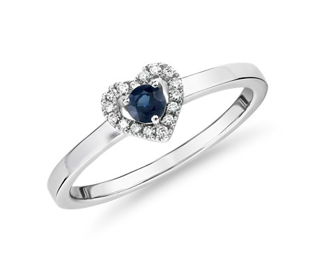 Petite Sapphire and Diamond Pavé Heart Ring in 14k White Gold (3mm)