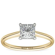 14k 金小巧单石订婚戒指