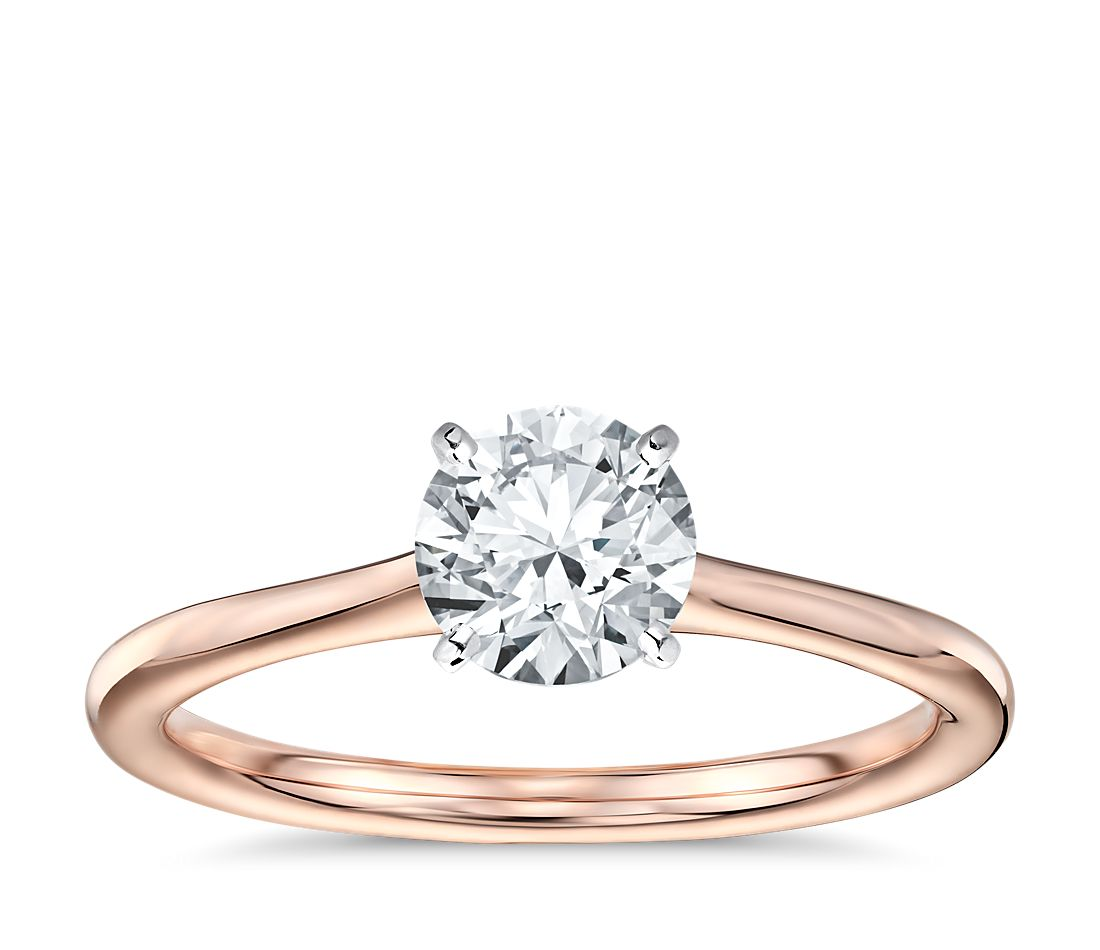 Pee Solitaire Engagement Ring In 14k Rose Gold