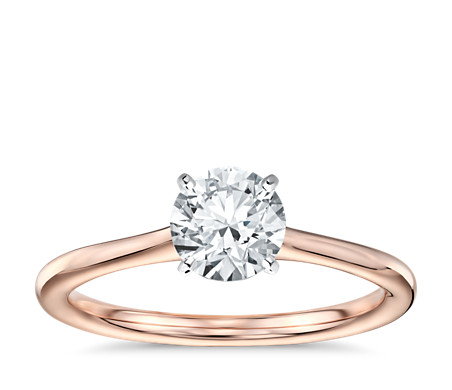 Rose Gold Engagement Ring With Yellow Gold Wedding Band