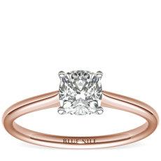14k 玫瑰金小巧单石订婚戒指