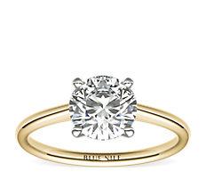 18k 金小巧单石订婚戒指