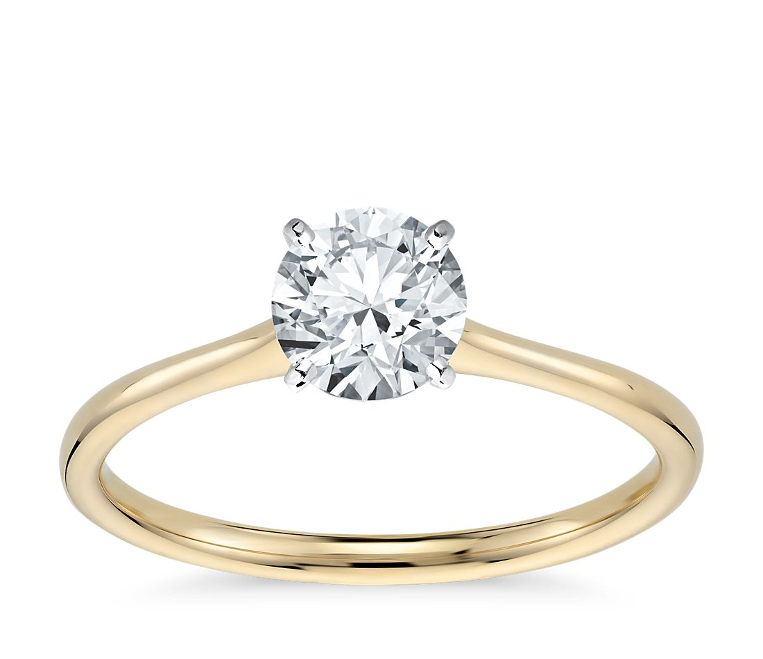 petite solitaire engagement ring in 18k yellow gold blue. Black Bedroom Furniture Sets. Home Design Ideas