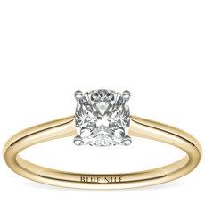 18k 黃金小巧單石訂婚戒指