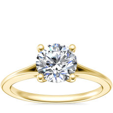 NEW Petite Split Shank Solitaire in 18k Yellow Gold