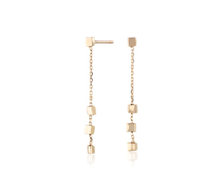 Petite Square Drop Earrings in 14k Yellow Gold