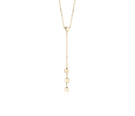 Petite Square Y-Drop Necklace in 14k Yellow Gold