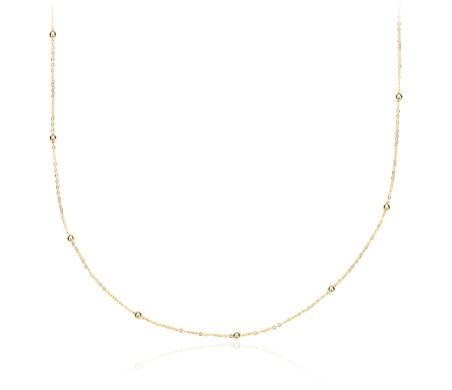 Petite Stationed Bead Necklace in 14k Yellow Gold