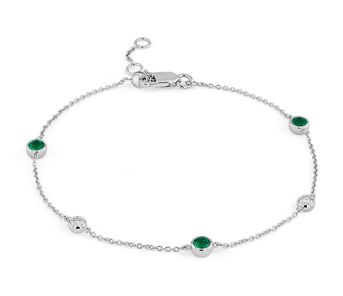 Petite Stationed Emerald and Diamond Bracelet in 14k White Gold (3mm)