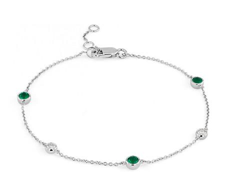 14k 白金小巧固位绿宝石和钻石手链