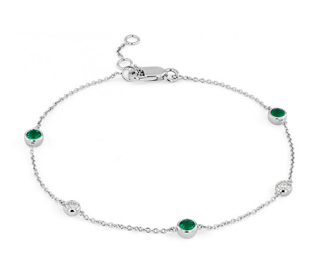 Petite Stationed Emerald and Diamond Bracelet in 14k White Gold