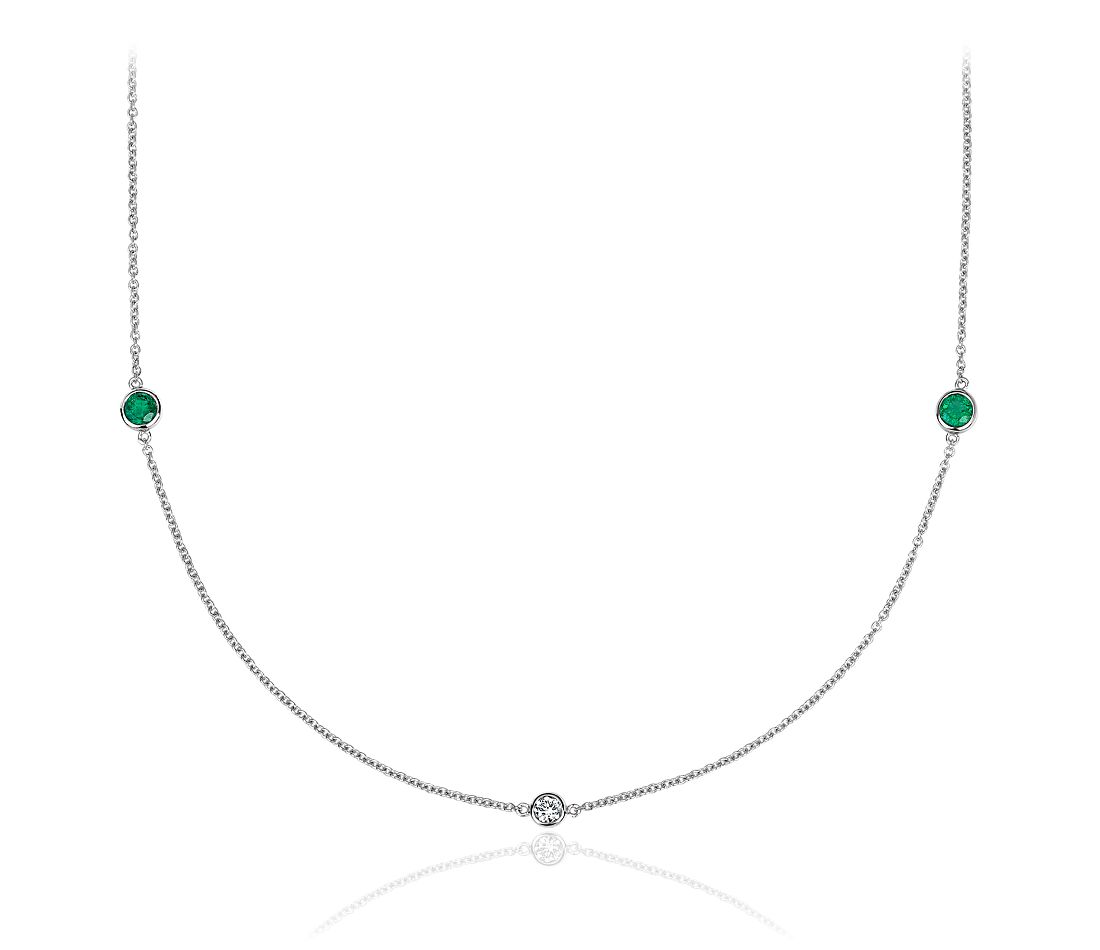"Petite Stationed Emerald and Diamond Necklace in 14k White Gold (36"")"