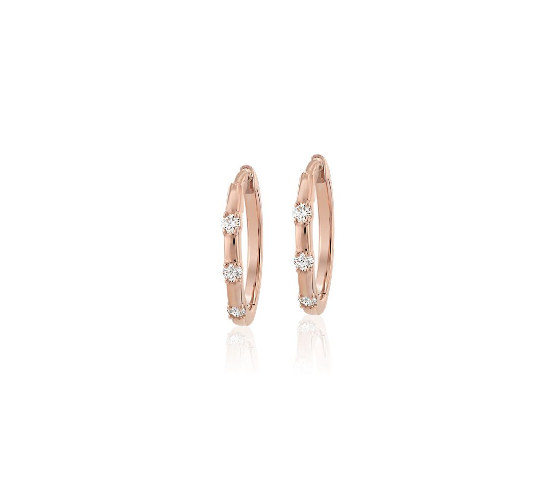 Petite Stationed Huggie Hoop 14k Rose Gold