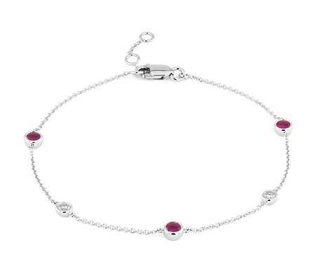 Petite Stationed Ruby and Diamond Bracelet in 14k White Gold