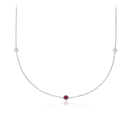"Petite Stationed Ruby and Diamond Necklace in 14k White Gold (36"")"