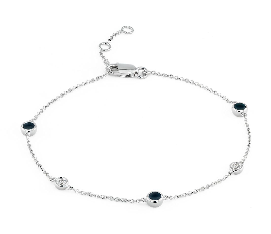 Petite Stationed Sapphire and Diamond Bracelet in 14k White Gold (3mm)