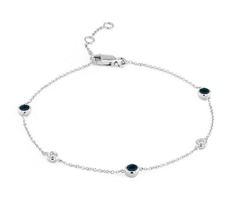 Petite Stationed Sapphire and Diamond Bracelet in 14k White Gold