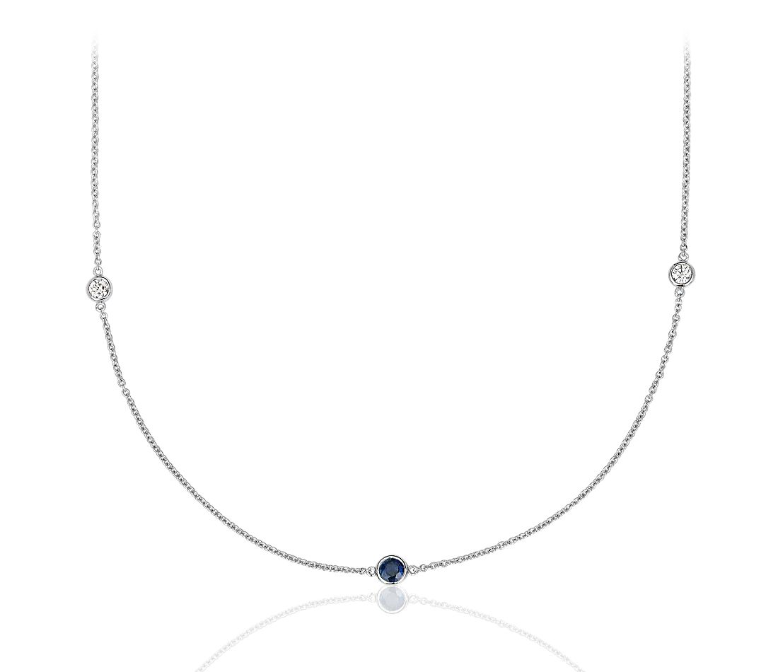 "Petite Stationed Sapphire and Diamond Necklace in 14k White Gold (36"")"
