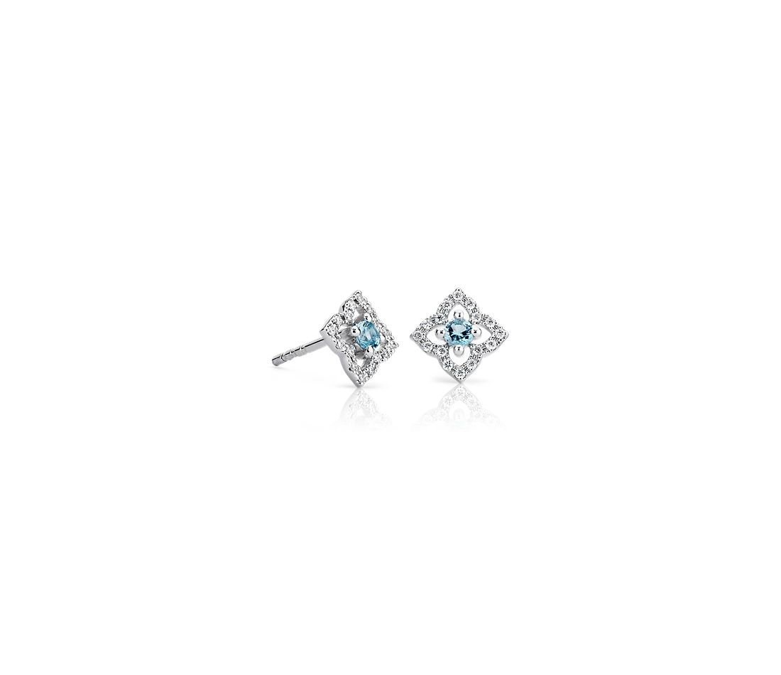Petite Swiss Blue Topaz Floral Earrings in 14k White Gold (2.4mm)