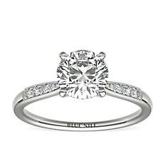 Petite Milgrain Diamond Engagement Ring in 14k White Gold (1/10 ct. tw.)