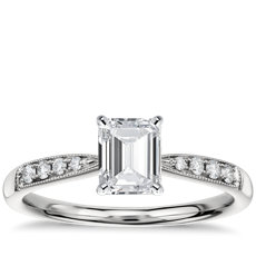 Petite Milgrain Diamond Engagement Ring in 14k White Gold (0.07 ct. tw.)