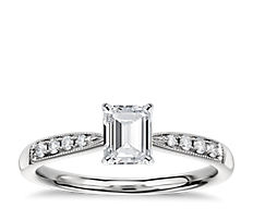 Petite Milgrain Diamond Engagement Ring in 14k White Gold (0.07 ct. tw.)