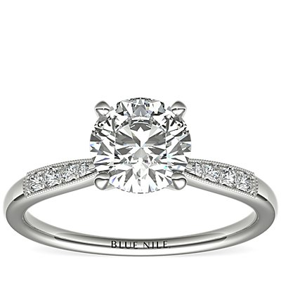 Petite Milgrain Diamond Engagement Ring in Platinum (0.07 ct. tw.)