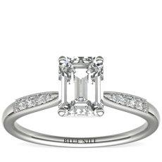 Petite Milgrain Diamond Engagement Ring in Platinum (0.07 ct. tw.)