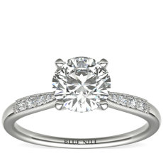 Petite Milgrain Diamond Engagement Ring in Platinum (1/10 ct. tw.)
