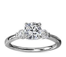 NEW Petite Three-Stone Diamond Engagement Ring in 14k White Gold