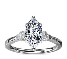 Petite Three-Stone Diamond Engagement Ring in 14k White Gold