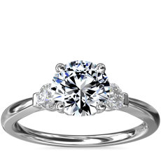 Petite Three-Stone Diamond Engagement Ring in 14k White Gold