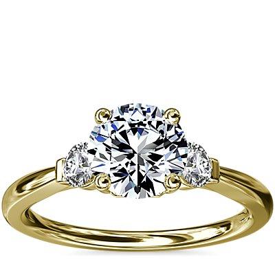 新款 14k 黃金小巧三石鑽石訂婚戒指
