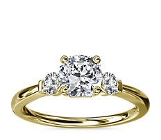Petite Three-Stone Diamond Engagement Ring in 14k Yellow Gold