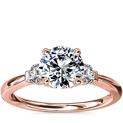 NEW Petite Three-Stone Diamond Engagement Ring in 18k Rose Gold