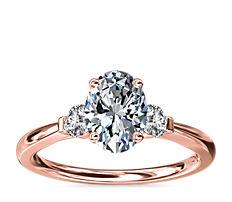 Petite Three-Stone Diamond Engagement Ring in 18k Rose Gold