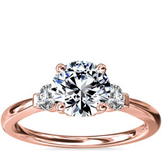 Petite Three-Stone Diamond Engagement Ring in 18k Rose Gold